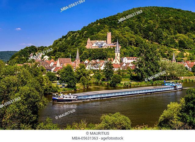 Germany, Bavaria, Lower Franconia, Mainfranken, Gemünden at the Main, Main shore, Franconian Saale mouth, townscape, castle ruin Scherenburg