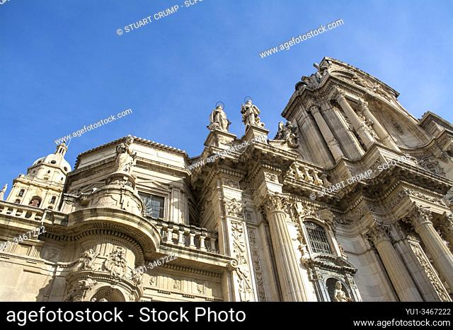 Angled image of the Cathedral of Murcia, Murcia, Spain