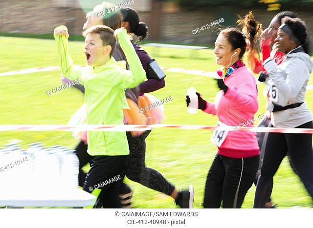 Enthusiastic charity run runners