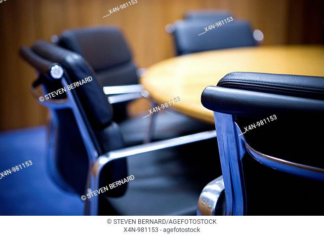 Empty meeting room, with round table and chairs