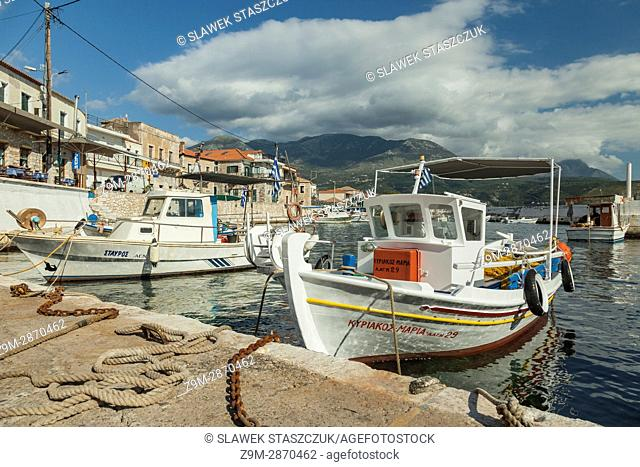 Marina in Agios Nikolaos seaside village in Messenia, Greece