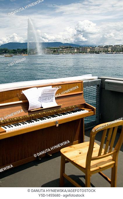 piano on the bank of Geneva Lake, Geneva, Switzerland, lifestyle