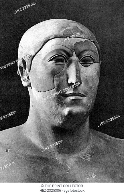 Hemiunu, Ancient Egyptian architect, 1936. Head of a limestone statue. Found in the collection of the Roemer and Pelizaeus Museum in Hildesheim
