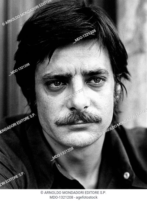 Portrait of Giancarlo Giannini. Portrait of the Italian actor and voice actor Giancarlo Giannini. Rome, 1970s