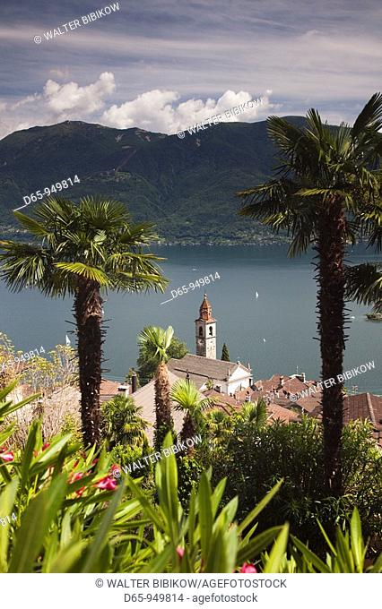 Switzerland, Ticino, Lake Maggiore, Ronco, high angle view of town church and lake