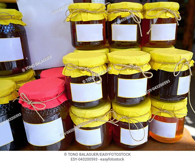 Honey glass pots in Alpujarras of Granada at Andalusian Spain