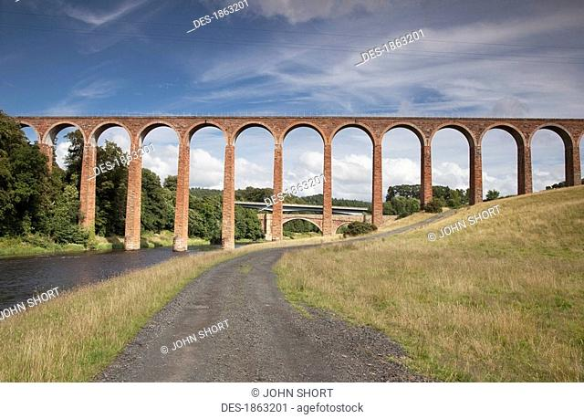 Leaderfoot Viaduct over a road, Scottish Borders, Scotland
