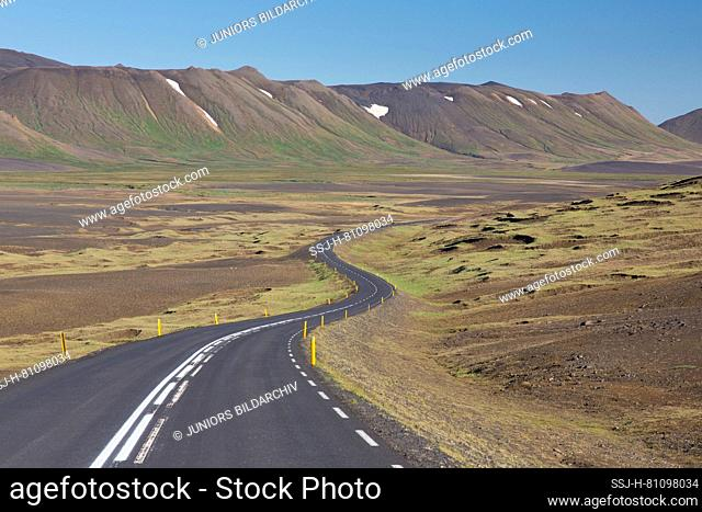 The ring road in a lonely landscape, Austurland, Iceland