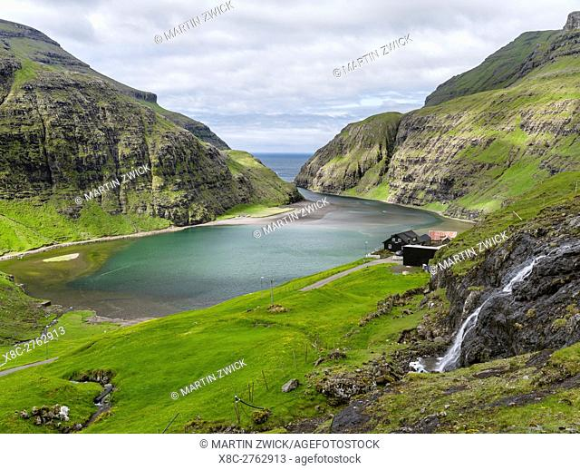 The valley of Saksun, one of the main attractions of the Faroe Islands. The island Streymoy, one of the two large islands of the Faroe Islands in the North...