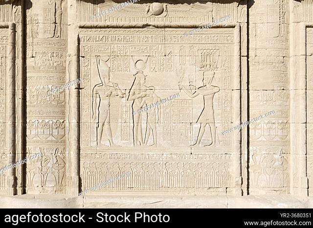 Basrelief on the external wall of the roman Mammisi, Dendara, Egypt