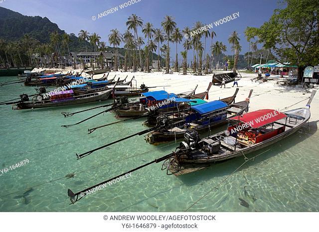 Traditional longtail boats pulled up on Ao Tonsai Beach where tsunami waves swept ashore Phi Phi Island