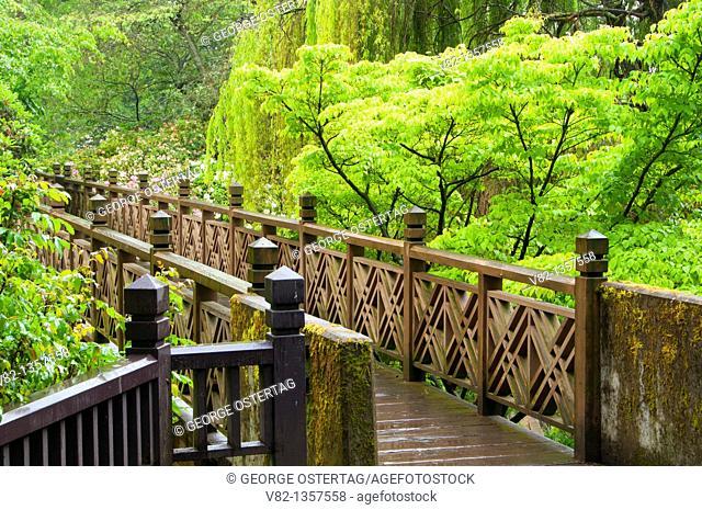 Garden bridge, Crystal Springs Rhododendon Gardens, Portland, OR