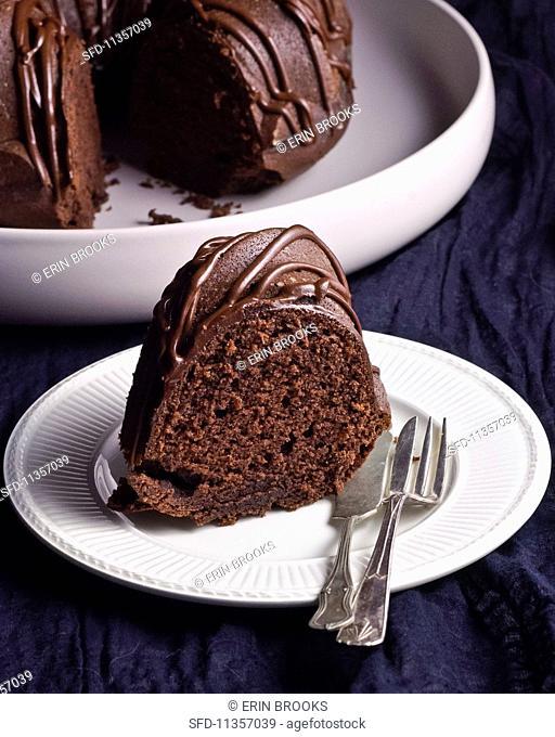 A slice of chocolate cake