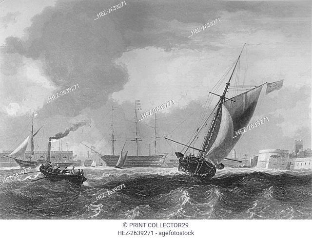 'Entrance to Portsmouth Harbour', 1859. Artist: Edward Francis Finden