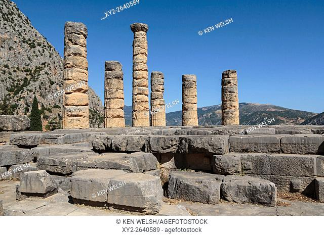 Ancient Delphi, Phocis, Greece. Remains of the Temple of Apollo. Today's visible ruins date from the 4th century BC, but the original structure has been dated...