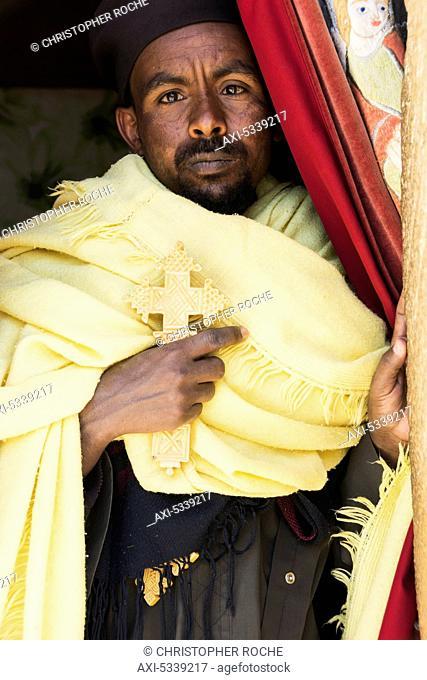 Portrait of an Ethiopian Orthodox Christian man; Lalibela, Ethiopia