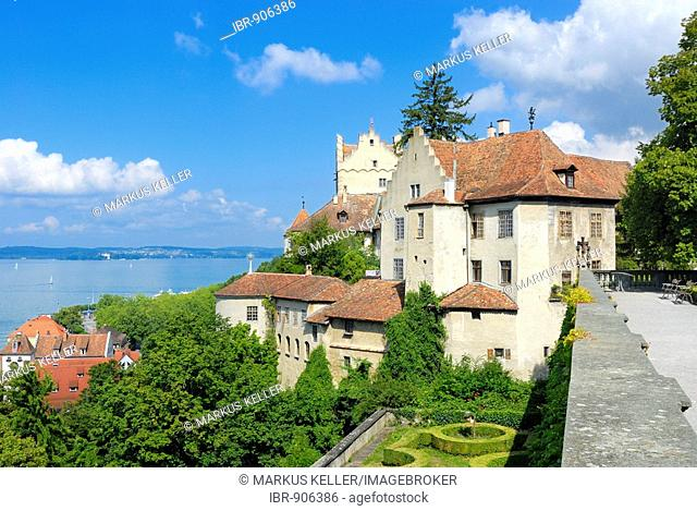 View of the the castle and the Unterstadt from the terrace of the Neues Schloss Castle, Meersburg, Bodensee district, Baden-Wuerttemberg, Germany, Europe