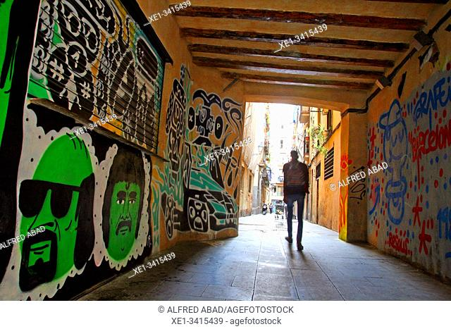 Graffiti on the street of Picalquers, El Raval, Barcelona, ??Catalonia, Spain