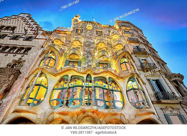 Casa Batllo house design by Antonio Gaudi, Barcelona, Catalonia, Spain