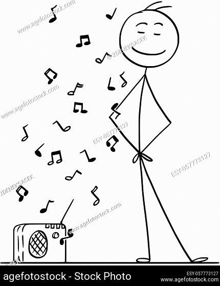 Cartoon stick drawing conceptual illustration of man enjoying listening a music from small radio