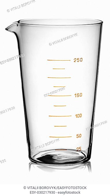 Glass beaker graduated rotated isolated on white background