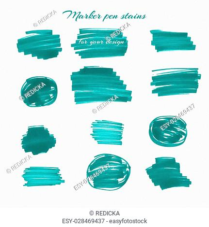 Green marker pen spots and lines for your design