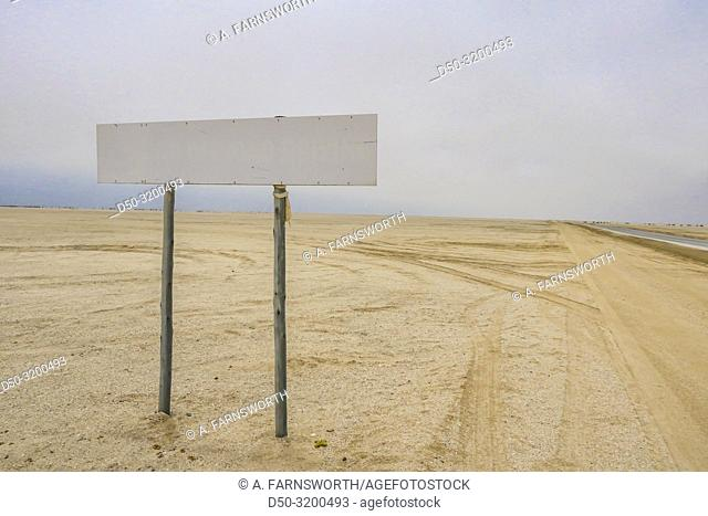 The Skelton Coast, Namibia. A sign literally in the middle of nowhere