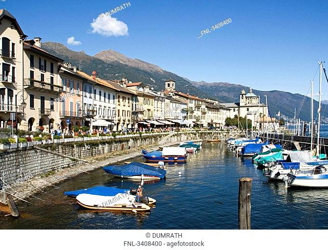Boats in a port basin of Cannobio, Piedmont, Italy
