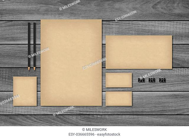 Vintage blank brand template for corporate design. Business cards, letterhead with envelope. Retro styled mock-up on wood