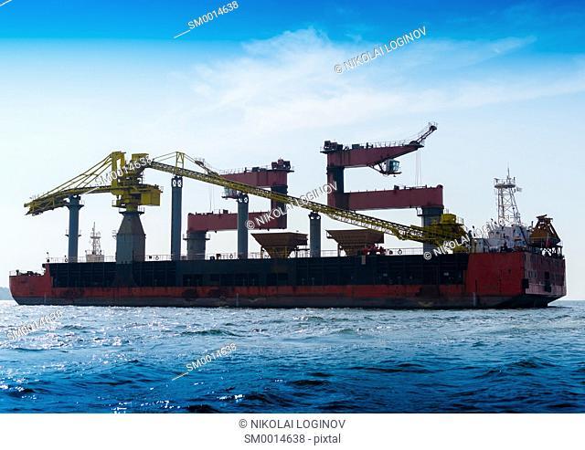 Horizontal vivid industrial tanker background backdrop