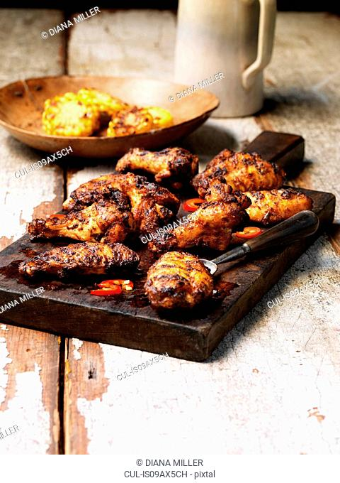 Barbecued peri peri chicken wings