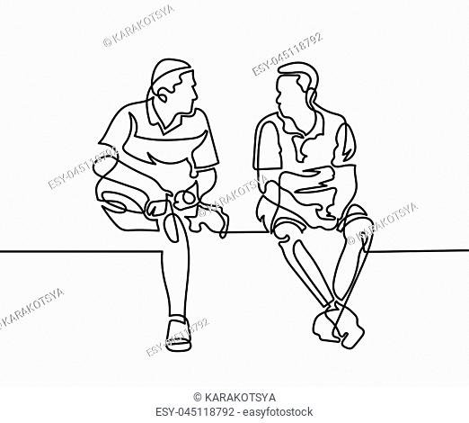 continuous one line drawing of two men sit and talk in modern minimalistic style, vector illustration