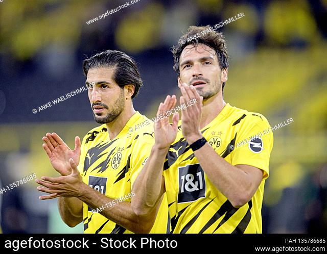 left to right Emre CAN (DO), Mats HUMMELS (DO) clap Soccer 1. Bundesliga, 1. matchday, Borussia Dortmund (DO) - Borussia Monchengladbach (MG) 3: 0