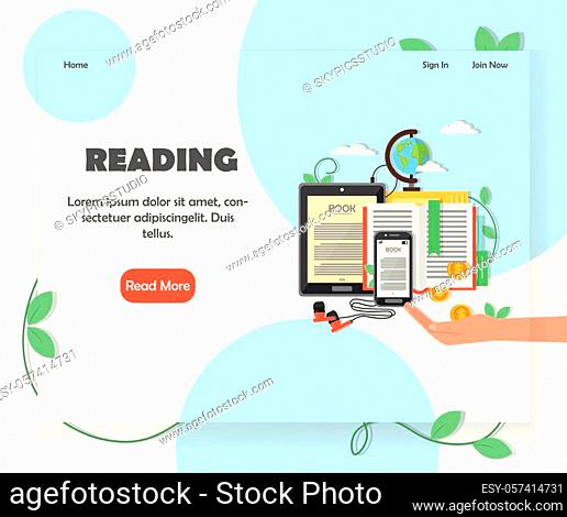 Educational website homepage template. Vector flat style design element with copy space and read more button