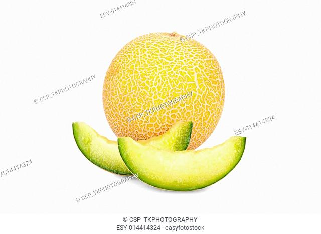 One whole and two Slices of Galia Melon
