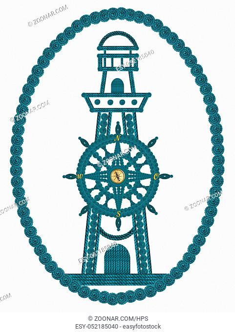 Kompass Steuerrad und Leuchtturm aus Seilen