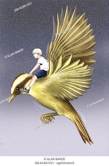 Boy flying on bird