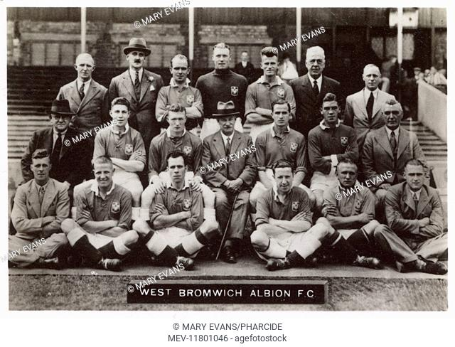 West Bromwich Albion FC football team 1936. Back row: Reed, Keys (Director), Trentham, Pearson, Carter, Round (Director), Jephcott (Director)