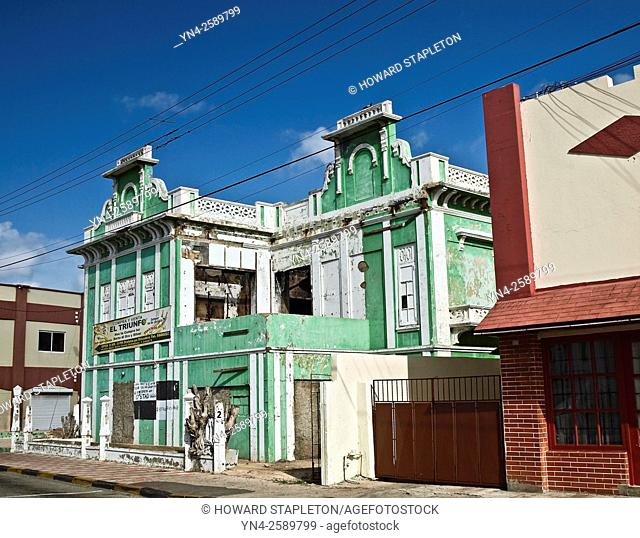 Colorful old building in need of restoration at Oranjestad, Aruba