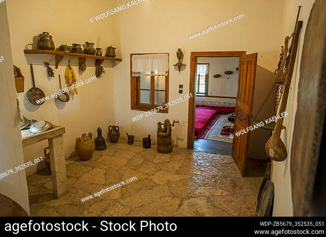 A kitchen at the Ethnographic Museum in Gjirokastra, a town in southern Albania
