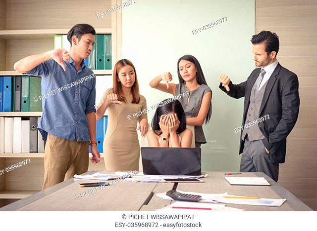angry team colleague blaming frustrated businesswoman in meeting office, selective focus