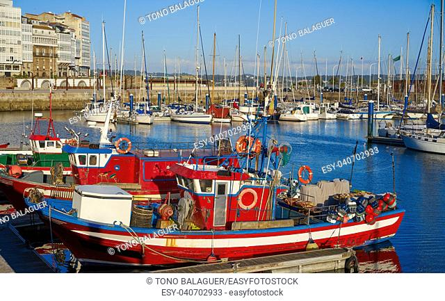 La Coruna port marina in Galicia of Spain