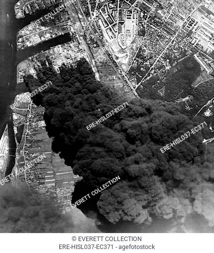 Aerial view of three oil refineries in Hamburg after bombing by U.S. 8th. Air Force. World War 2, June 20, 1944. (BSLOC-2014-6-12)