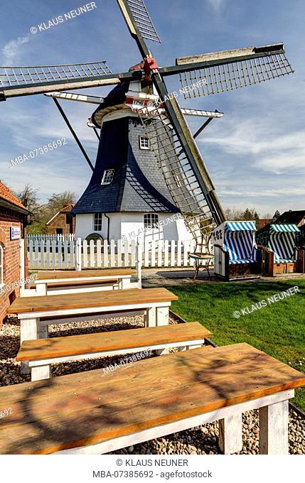 Werdum Mill, Esens, Museum, Bakery, Cafe, Backhuus, East Frisia, Lower Saxony, Germany