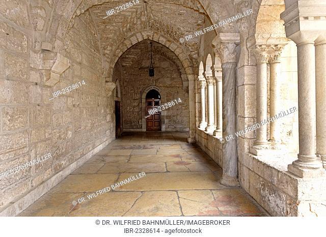 Cloister of Saint-Catherine's Church near the Church of the Nativity, Bethlehem, West Bank, Israel, Middle East