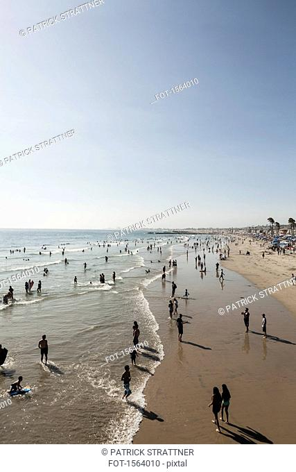 High angle view of people on beach against clear sky, Newport Beach, California, USA