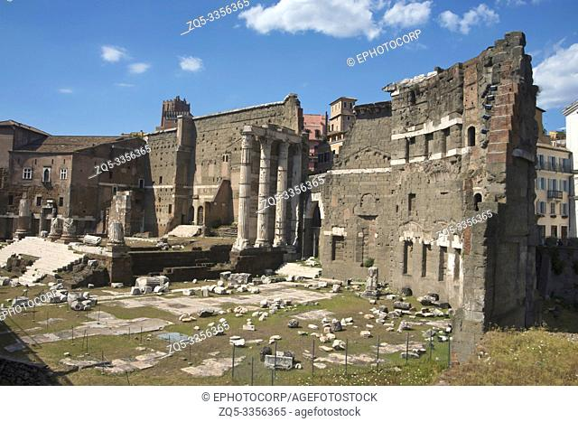 General view of the Roman forum surrounded by the remnants of ancient government buildings, Rome