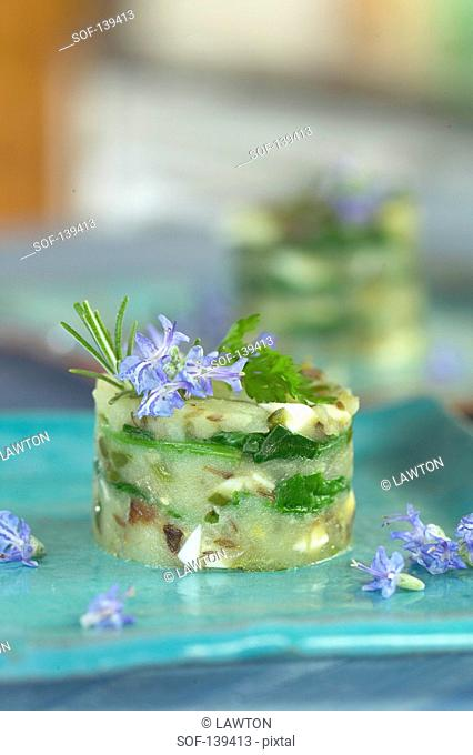Timbale of seitan and potato lasagnes