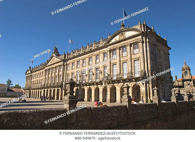 Neoclassical Pazo de Raxoi (18th century) now Town Hall and Junta de Galicia headquarters, Santiago de Compostela. A Coruña province, Galicia, Spain