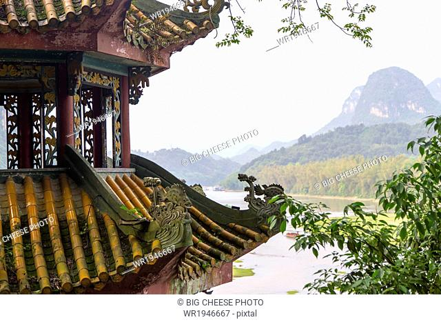 View of Li River from a temple rooftop, Yangshuo, China